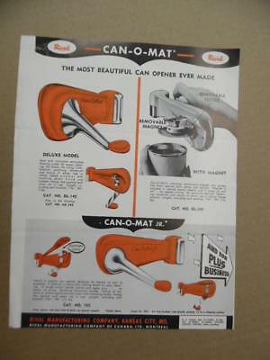 c.1948 Rival Mfg CAN-O-MAT Can Opener Chromium Catalog Sheet Streamlined Vintage