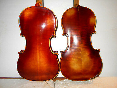 "Antique Lot of 2 Old Vintage 'Mittenwald"" 2 Pc Back Violins - No Reserve"
