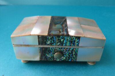 Antique Pearl Covered Footed Miniature Box.velvet Lined.