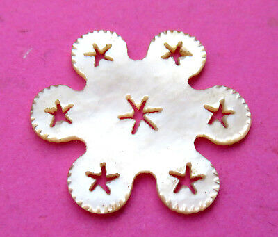 Antique 19Th C,lovely Pierced Pearl  Stars Snowflake Sewing Thread Winder.