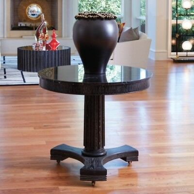 Large Round Black Wood Entry Table |  Antique Style Classic Marble Top Wheels