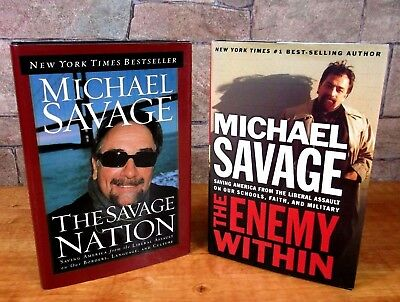"""Lot of 2 MICHAEL SAVAGE BOOKS hardcover """"THE SAVAGE NATION"""" & """"THE ENEMY WITHIN"""""""