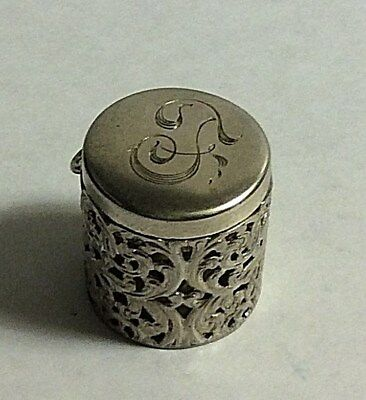 Antique Unger Brothers Sterling Silver Pierced Design * T * Thimble Holder 344