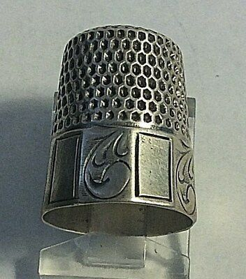 Antique Webster Sterling Silver Panel Plain & Scrolls Design Thimble Sewing Sz 9