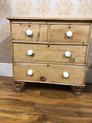 Fabulous Antique Victorian Striped and waxed pine chest of drawers