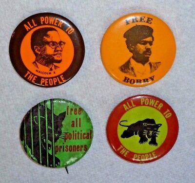 1960s Black Panther Party, Black Power Malcolm X, Bobby Seale 4 protest pinbacks