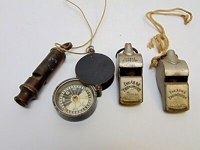 WW2 Hudson 1941 military whistle, compass & Acme thunderbolt whistles vintage