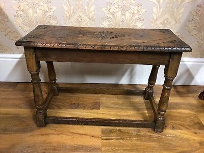 Top quality antique Solid English Oak detailed long stool, side end coffee table