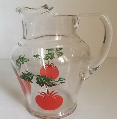 Vintage Hand Painted Clear Glass Water/Juice Pitcher With Red Tomatoes