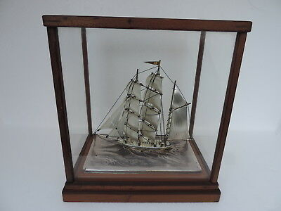 Masterly H-Crafted Japanese 3 Masted Solid Sterling Silver Boat Yacht Ship Japan