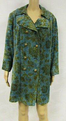 Vintage 50s 60s Coat Floral Tapestry Brocade Double Breasted Fuzzy Swing