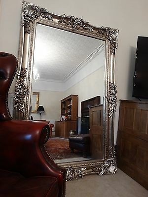 HUGE XL Oversized large Opulent Mirror Chunky Silver frame wall mounted  Leaner.