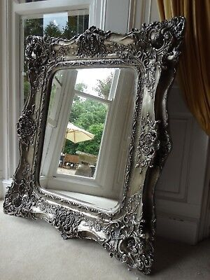 Silver Rococo reproduction antique Wall hall mirror. Fabulous ornate & Opulent.