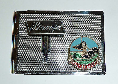 An Art Deco Chrome Plated Stamp Case With Mablethorpe Enamel Plaque