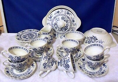 Vintage J & G Meakin Classic Blue Nordic Dishes in white with blue flower design
