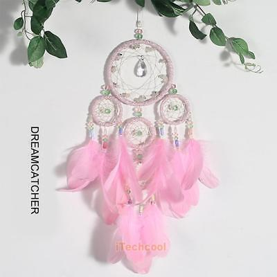 Large Handmade Dream Catcher With Pink Feathers Beads Home Hanging Decor Craft