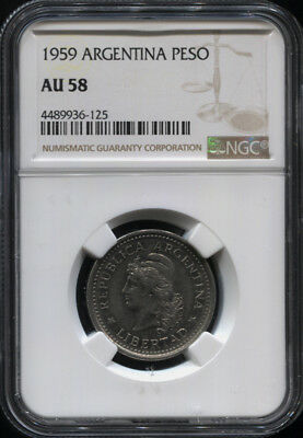 Tt 1959 Argentina 1 Peso Ngc Au 58 Finest Known In Grading- Exquisite Grand Coin