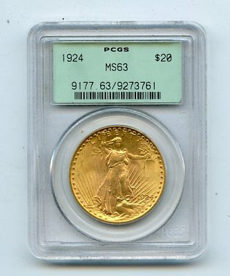 1924 Saint Gaudens Double Eagle $20 Gold Coin Old Green Holder (MS63) PCGS