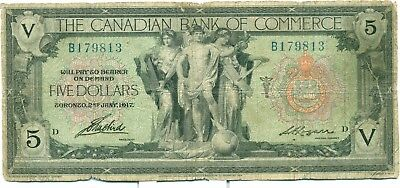 The Canadian Bank of Commerce $5 1917 B179813 Fine Logan
