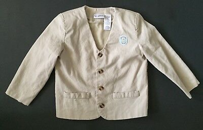 B.T. Kids Linen Blazer Jacket 4T Linen Blend Lined Padded Shoulders Teddy Patch