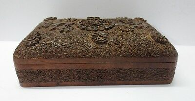 Vintage Indian Wooden Hand Carved Fine Floral Carving Jewelry Box Unique X71