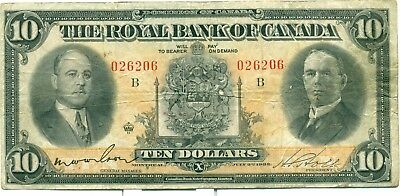 The Royal Bank of Canada $10 1933 026206 Fine/Very Fine