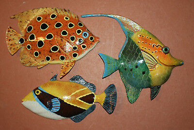 Seafood Restaurant Coral Reef Wall Decor, Life Like Tropical Fish Art, Lot of 3