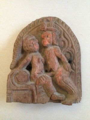 Antique Asian Erotic Carved Wooden Plaque