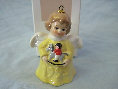 1993 Goebel ANGEL BELL ORNAMENT Yellow with Rocking Horse in Box