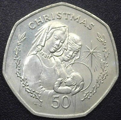 Gibraltar 1990 50 Pence -2 Women W/children- Gem++ Uncirculated Km#47