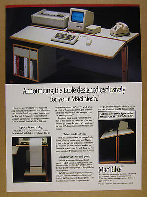 1986 MacTable apple macintosh Jakob Jensen designed table vintage print Ad