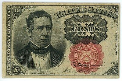 1874 10 Cent Fractional Currency Fr# 1265 Fifth Issue 10C Red Seal Long Thin Key