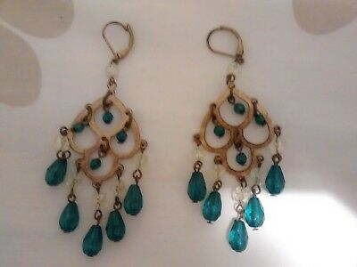 VINTAGE 00'S H&M Antique Style Gold Coloured/Green Beaded Earrings VGC