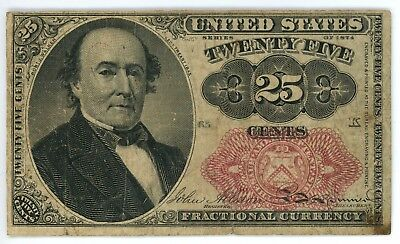1874 25 Cent Fractional Currency Fr# 1309 Fifth Issue 25C Short Thick Key