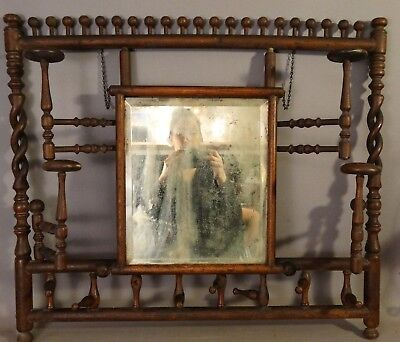 Antique OAK Stick & Ball VICTORIAN Barley Twist HAT RACK Wall HALL TREE Mirror