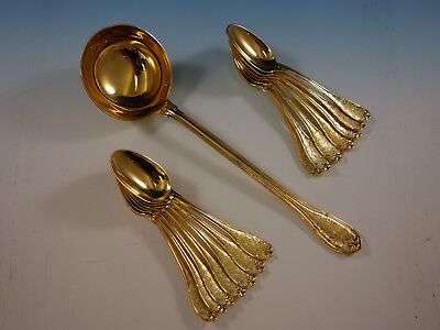 Elysee by Puiforcat French Sterling Silver Vermeil Gold Soup Serving Set 15 pcs