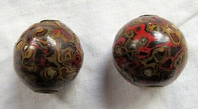 Ojime Beads Inlaid Mother of Pearl Swirl Lacquer Old Vtg Antique