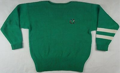 Rare VTG POLO RALPH LAUREN Cross Flags 1967 1987 Spell Out Sweater 90s Green L