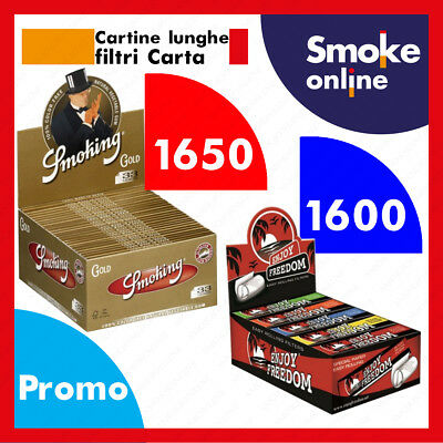 Smoking Oro Slim King Size Gold Lunghe 1650 Cartine + 1600 Filtri Carta