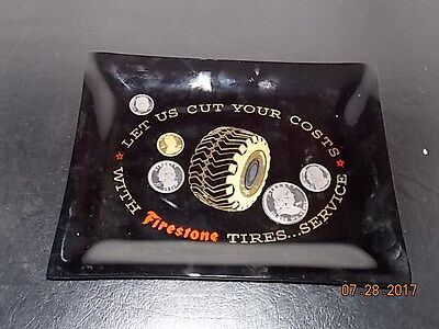 RARE Vintage Smoked Glass Tray FIRESTONE TIRES with Embossed Coins