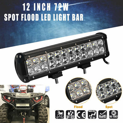 12inch 72W LED Work Light Bar Spot Flood Combo JEEP Ford Offroad Driving Lamps