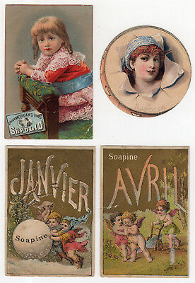 2 Enoch Morgan's Sons Sapolio, 2 Kendall Mfg. Co. Soapine Soap Months Tradecards