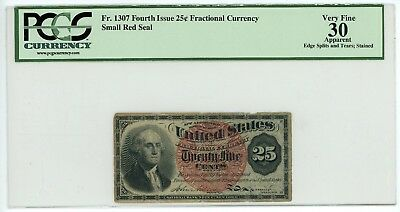 Series 1869 25 Cent Fractional Currency Fr# 1307 Fourth Issue PCGS VF30 Apparent