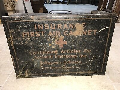 Antique Johnson & Johnson's Insurance First Aid Wall Hanging Cabinet Emergency