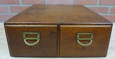 Old Two Drawer File Card Cabinet # 666 Brass Tag Devil Dovetailed Brass Handles
