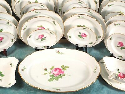 MEISSEN Biedermeier Rose Swords SET 8 Platter Bowl Neuer Ausschnitt EXCELLENT