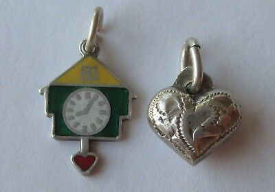 Lot 2 SMALL VTG SILVER GERMAN CHARMS HAND ETCHED PUFFY HEART ENAMEL CLOCK CHARM