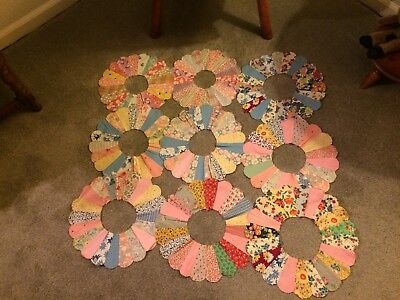 Vtg Lot 9 DRESDEN PLATE Cotton Quilt Squares FEEDSACK Fabric Block Pieces (TG9)