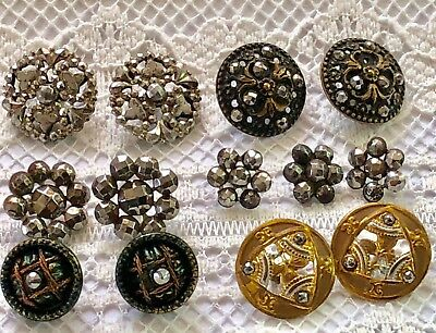 6 Assorted Pairs Victorian Metal Steel Cut Buttons for Jewelry or Collecting