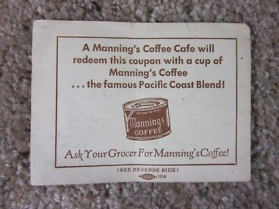 Vintage - Manning's Coffee - Coupon - Good Condition